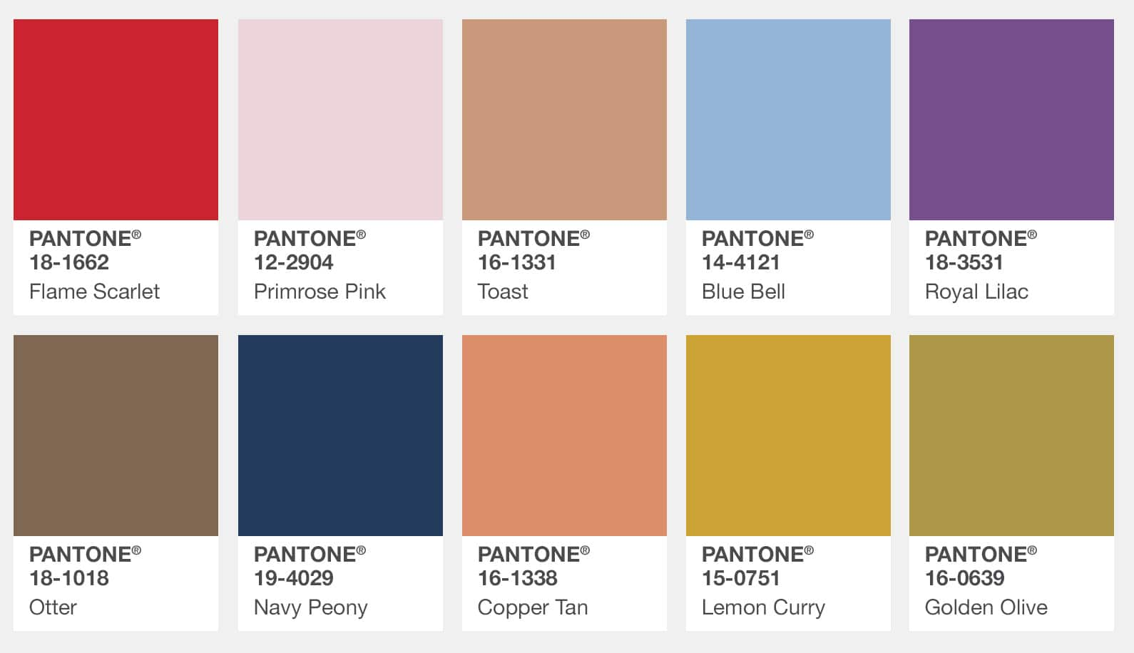 Pantone Just Released the Top 10 Colours for Autumn 2017
